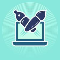 Pen- en penseel symbolen komen uit de laptop. vector