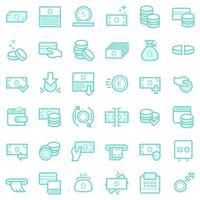 Zakelijke en financiële pictogrammen instellen.
