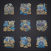 Reis gedetailleerde pictogrammen vector