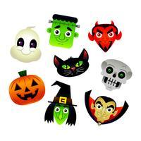 Verzameling van vector cartoons van verschillende tekens Halloween: Frankenstein, duivel, zwarte kat, skelet, Jack O'Lantern, heks, geest, Dracula.