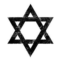 Joodse Davidster Zes puntige ster in het zwart met vector pictogram in elkaar grijpende stijl
