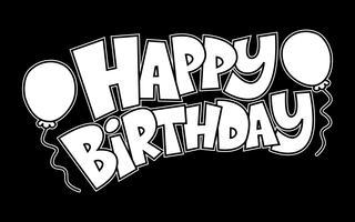 Kleurrijke gelukkige verjaardagstekst afbeelding met partij ballonnen vector logo
