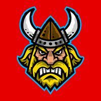 Vectorillustratie van een beeldverhaal Viking met een gehoornde helm en een baard