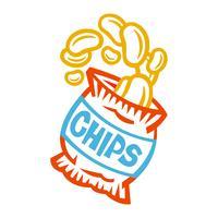 Zak met chips vector