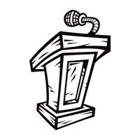 Presentatie podium voor lezingen of spreken in het openbaar - vectorafbeelding vector