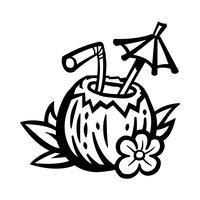 Tropische kokosnoot drankje illustratie