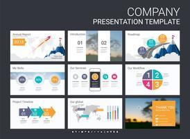 Presentatiemedia-sjabloon voor uw bedrijf met infographic-elementen.