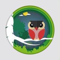 De kunst van het document snijdt van vogel (rode uil) op boomtak in bos bij nachtachtergrond.