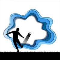 De kunst van het document snijdt van voetbalachtergrond met voetbalster.