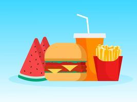 Hamburger met friet Watermeloen en coladrank tijdens het zomerseizoen vector