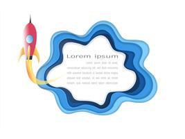 Papierkunststijl voor start bedrijfsconcept en exploratieidee.