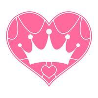 Roze Girly prinses royalty kroon met hart juwelen vector