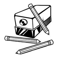 Vectorillustratie van een elektrische puntenslijper met potloden.