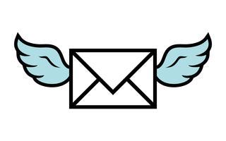 Vliegende vleugels envelop pictogram vectorillustratie