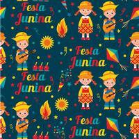 Naadloos patroon van festa Junina-dorpsfestival in Latijns Amerika. Pictogrammen in felle kleuren. Vlakke stijldecoratie. vector