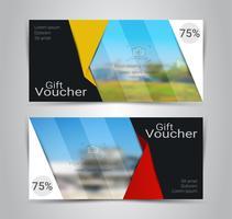 Cadeaubonnen en vouchers, kortingsbon of banner websjabloon met onscherpe achtergrond. vector