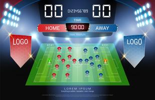 Voetbal of voetbal start line-up, Jersey uniformen en Digital timing scorebord wedstrijd versus strategie uitgezonden grafische sjabloon.