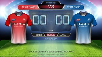 Het mock-up van het voetbal jersey team A versus team B, Digitale timing scorebordgelijke versus strategie uitzendt grafische sjabloon.