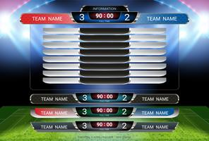 Scorebord en onderste derde sjabloon, Sport voetbal en voetbalwedstrijdteam A tegen team B.
