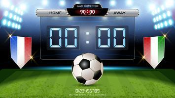 Digitaal timingsscorebord, Voetbalwedstrijdteam A versus team B, Strategie uitzend grafische sjabloon.
