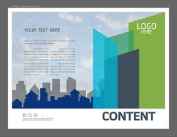 Presentatie ontwerpsjabloon, stad gebouwen en onroerend goed concept. vector