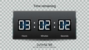 Countdown timer over of Clock counter scoreboard met uren, minuten en seconden verschijnt.