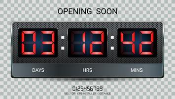 Countdown timer resterend of Clock counter scoreboard met dagen, uren en minuten verschijnt.