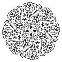 Mooi rond sierelement voor ontwerp in zwart-witte kleuren. Vector illustratie.