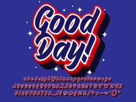 3d pop goede dag teksteffect vector