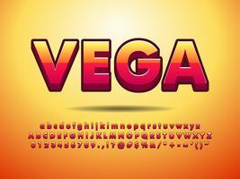 3d eenvoudige oranjerode lettertype-effect
