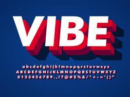 Vibe 3d letterbeeld-effect met schaduw vector