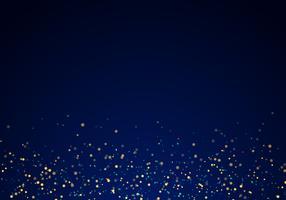 Het abstracte gouden vallen schittert lichtentextuur op een donkerblauwe achtergrond met verlichting.