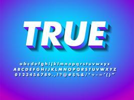Moderne 3d geometrische lettertype vector