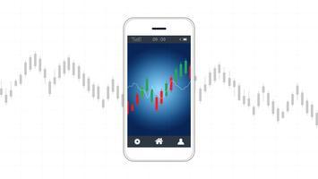 Mobiel voorraad handelconcept met kandelaar en financiële grafiekgrafieken op het scherm.
