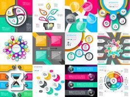 Infographic ontwerp vectorreeksen die voor werkschemalay-out worden gebruikt.