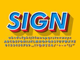 Retro bord met pop typografie stijl