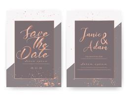 De kaart van de huwelijksuitnodiging, sparen de kaart van het datumhuwelijk, Modern kaartontwerp met gouden geometrische en borstelslag, Vectorillustratie. vector