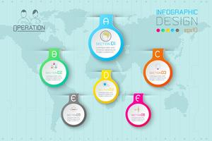 Zakelijke waterdruppel labels vormen infographic op wereldkaart.