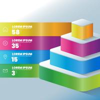 3D-infographic ontwerpsjabloon lay-out workflow vector