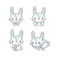 schattige kleine konijn en konijn cartoon doodle vector