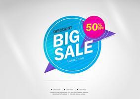 Grote verkoop en speciale aanbieding. 50% korting. Vector illustratie. Themakleur.