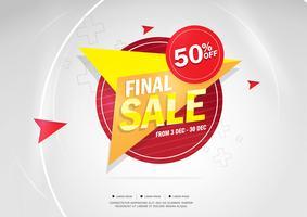 Uiteindelijke verkoop en speciale aanbieding. 50% korting. Vector illustratie. Themakleur.