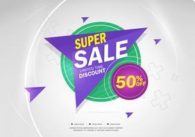 Super Sale en speciale aanbieding. 50% korting. Vector illustratie. Themakleur.