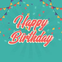 Platte gelukkige verjaardag groeten belettering typografie vectorillustratie