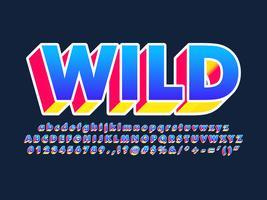 moderne trendy 3d pop-lettertype-effect