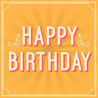 Vlakke Retro Gelukkige de Typografie Vectorillustratie van de Verjaardagsgroet