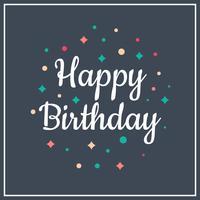 Platte eenvoudige gelukkige verjaardag typografie vectorillustratie