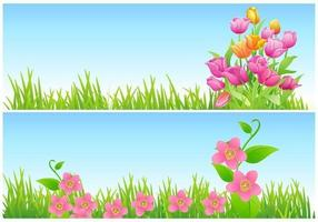 tulp en bloemen vector behang pack