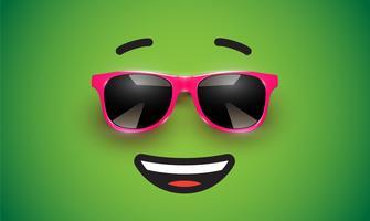 Hoog detiled kleurrijke emoticon met zonnebril, vectorillustratie vector