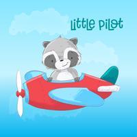 Ansichtkaart poster schattige wasbeer op het vliegtuig in cartoon stijl. Handtekening.